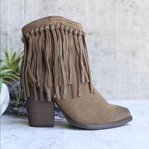 Western Suede Knotted Fringe Ankle Bootie